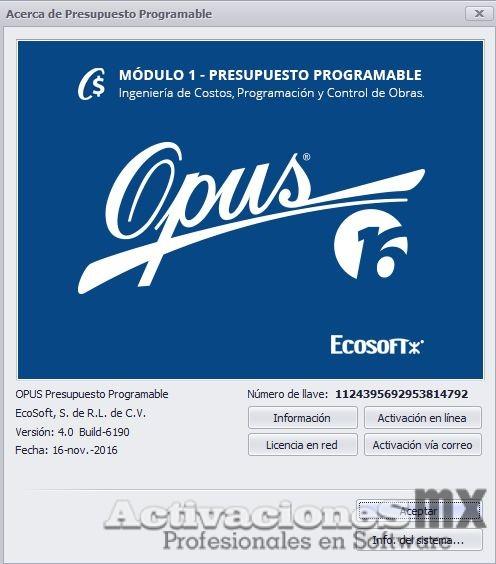 OPUS 16 full crack Presupuesto Programable Modulo 1 con Activador/SentinelKey Ilimitado